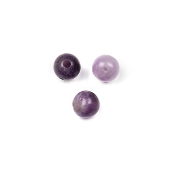 Matte Amethyst 10mm Guru/3 Hole Beads - 3 per bag