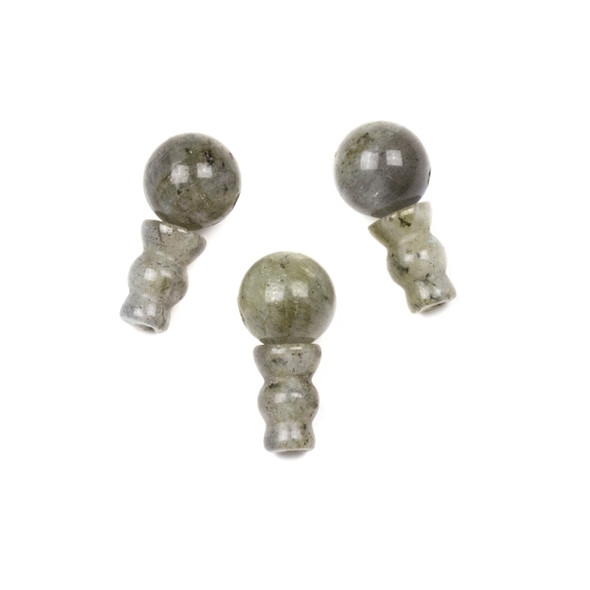 Labradorite 10mm Guru Bead with 7x10mm Tower - 1 set per bag