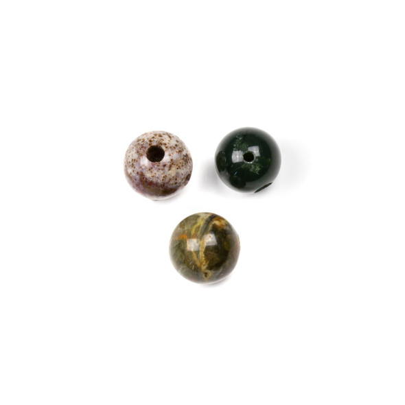 Ocean Jasper 10mm Guru/3 Hole Beads - 3 per bag