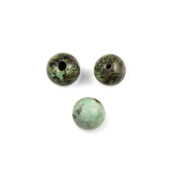 African Turquoise 10mm Guru/3 Hole Beads - 3 per bag
