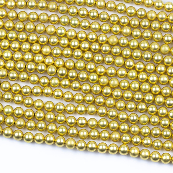 Coated Brass 6mm Hollow Round Beads with approximately 1mm Hole - 8 inch strand