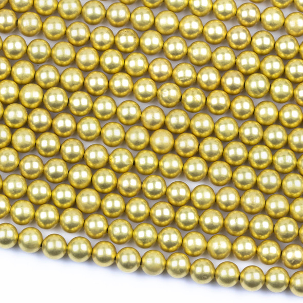 Coated Brass 8mm Hollow Round Beads with approximately 1.3mm Hole - 8 inch strand