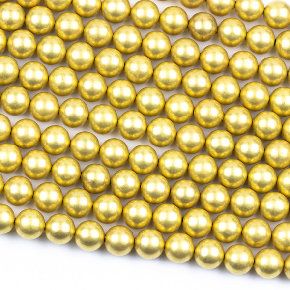 Coated Brass 10mm Hollow Round Beads with approximately 1.3mm Hole - 8 inch strand