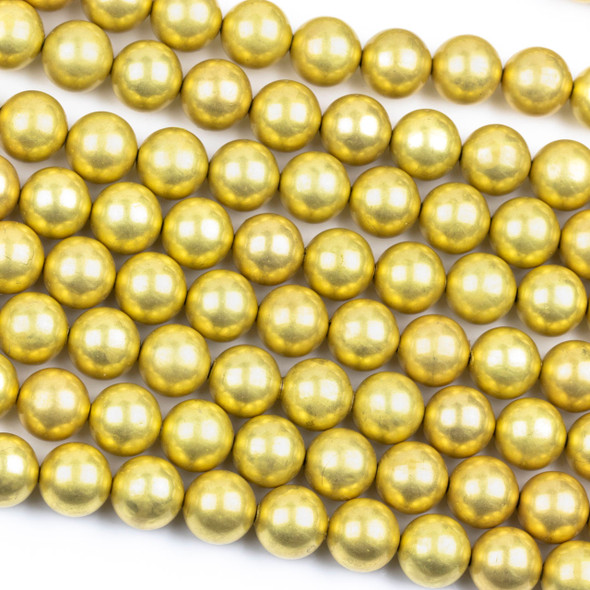 Coated Brass 12mm Hollow Round Beads with approximately 1.5mm Large Hole - 8 inch strand