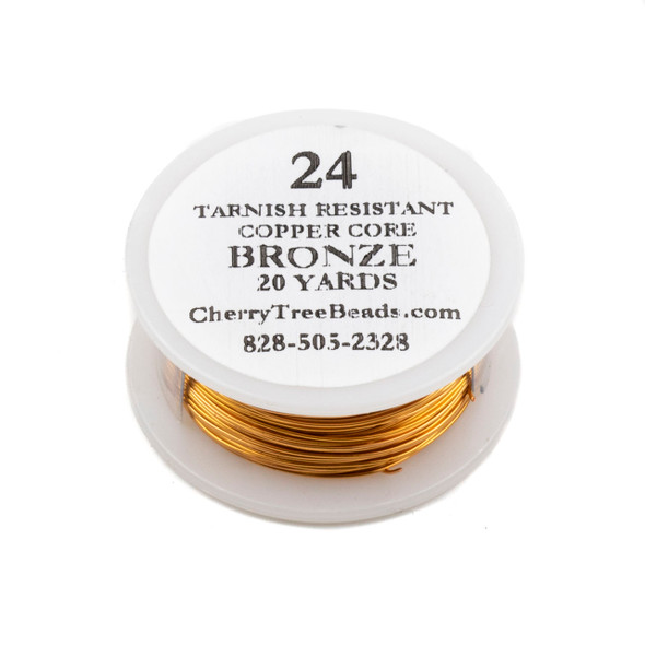 24 Gauge Coated Non-Tarnish Bronze Plated Copper Wire on 20-Yard Spool