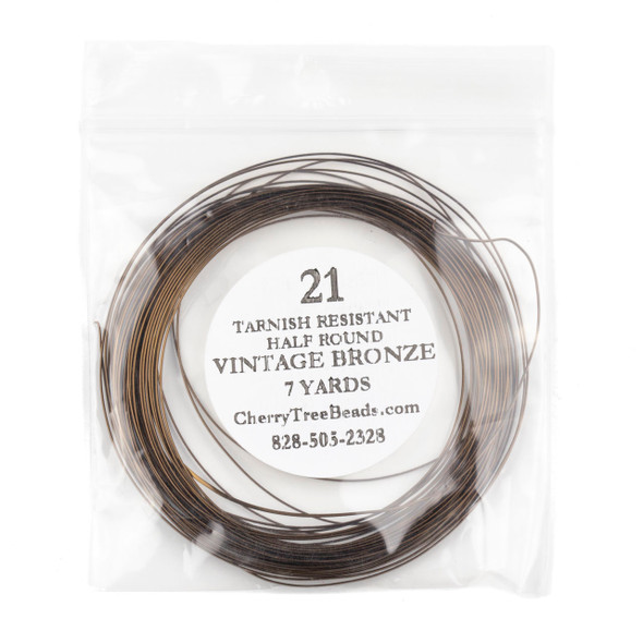 21 Gauge Coated Non-Tarnish Vintage Bronze Coated Copper Half Round Wire in a 7 Yard Coil