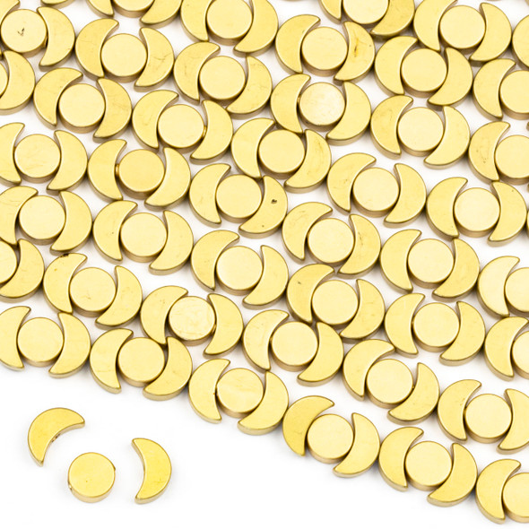 Coated Brass Moon Phase Beads - approx. 8 inch strand