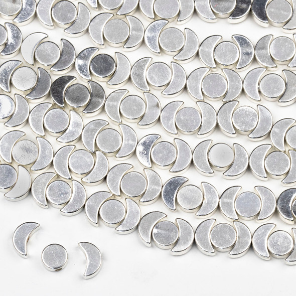 Coated Silver Plated Brass Moon Phase Beads - approx. 8 inch strand