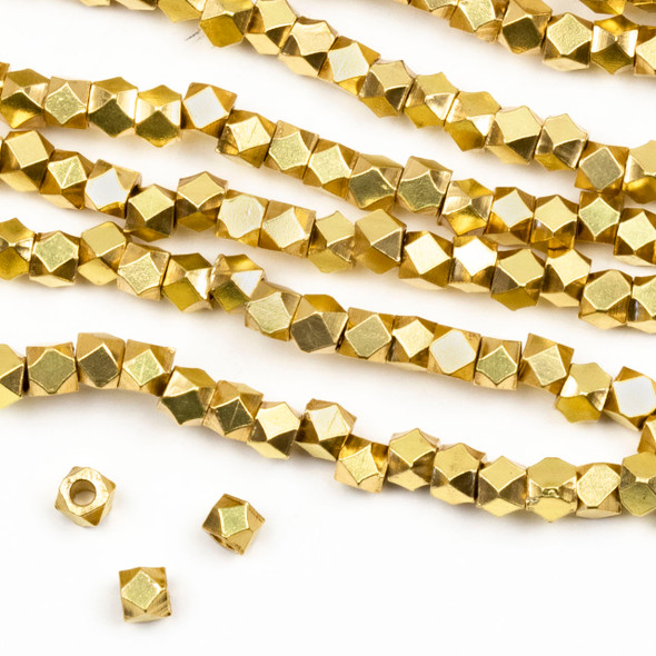 Coated Brass 3mm Faceted Cube Beads with approximately 1.75mm Large Hole - approx. 8 inch strand