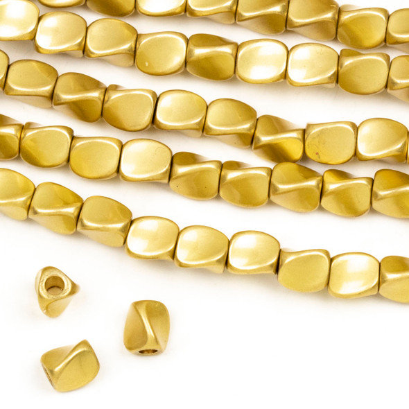 Coated Brass 5mm Twisted 3-Sided Spacer Beads with approximately 1.75mm Large Hole - approx. 8 inch strand