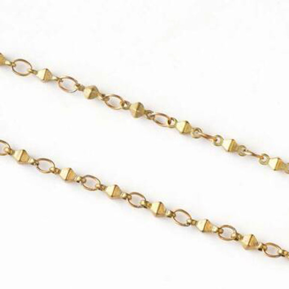 Raw Brass Chain with 2.5x3.5mm Small Oval Links alternating with 2x6mm Octahedron Links - JX-1045 - 2 meter spool