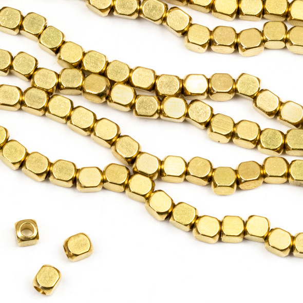 Coated Brass 3x3.5mm Long Cube Beads - approx. 8 inch strand