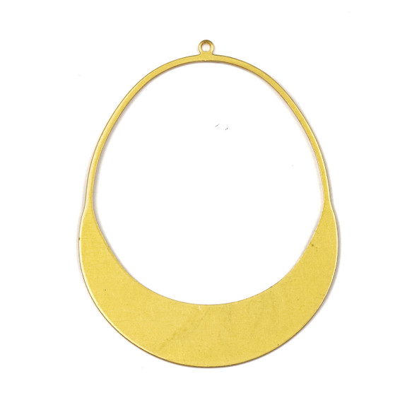 Coated Brass 42x54mm Oval Hoop Component with Crescent Bottom - 2 per bag - CG00619c