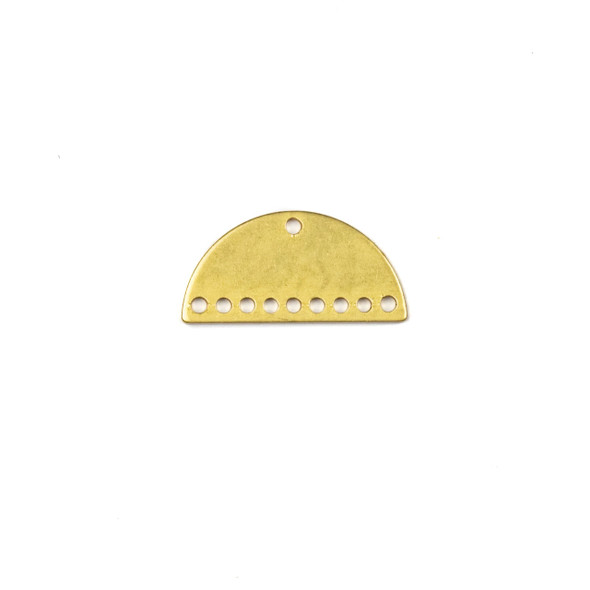Coated Brass 10x21mm Half Moon Component with 10 Holes - 6 per bag - CG01175c