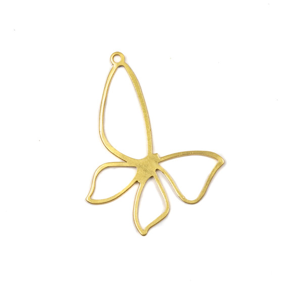 Coated Brass 32x35mm Open Butterfly Component with one Loop - 4 per bag - CG01734c