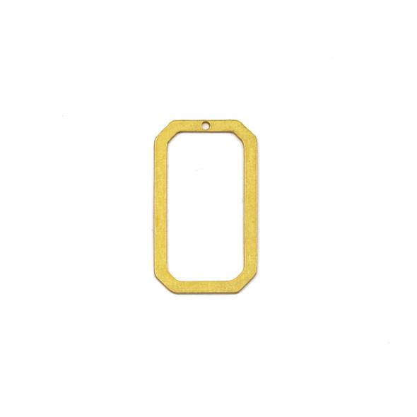Coated Brass 17x29mm Octagonal Rectangle Component - 4 per bag - JG00018c