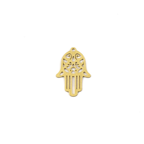 Coated Brass 16X24mm Hamsa Hand Drop Component - 4 per bag - JG00061c