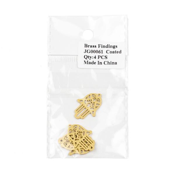 Coated Brass 16X24mm Hamsa Hand Drop Component - 4 per bag - JG00061c