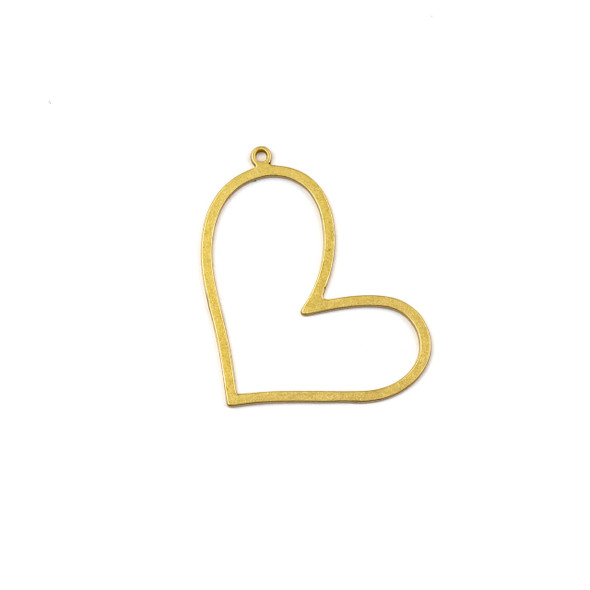 Coated Brass 24x32mm Open Heart Component with one Loop - 4 per bag - JG00092c