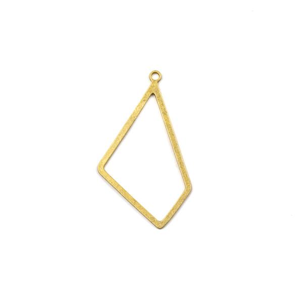 Coated Brass 21x36mm Irregular Diamond Component with Loop - 6 per bag - JG00130c