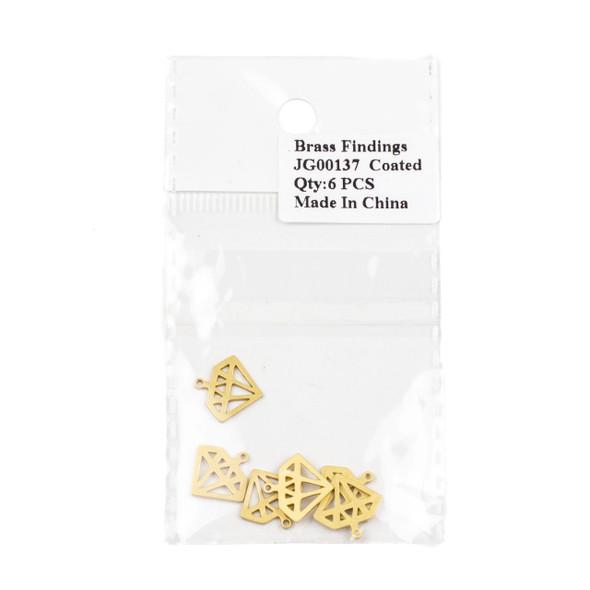 Coated Brass 13x14mm Diamond Drop Component - 6 per bag - JG00137c