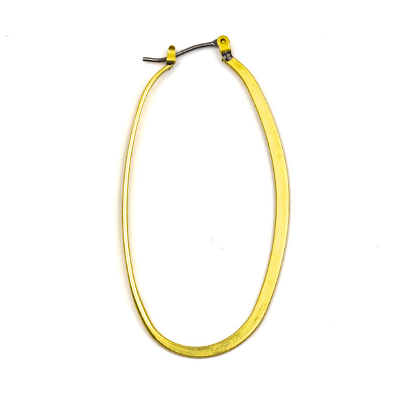 Coated Brass 30x54mm Oval Shaped Leverback Hoop Earrings with Stainless Steel Posts - 4 pcs per bag - NS00048c
