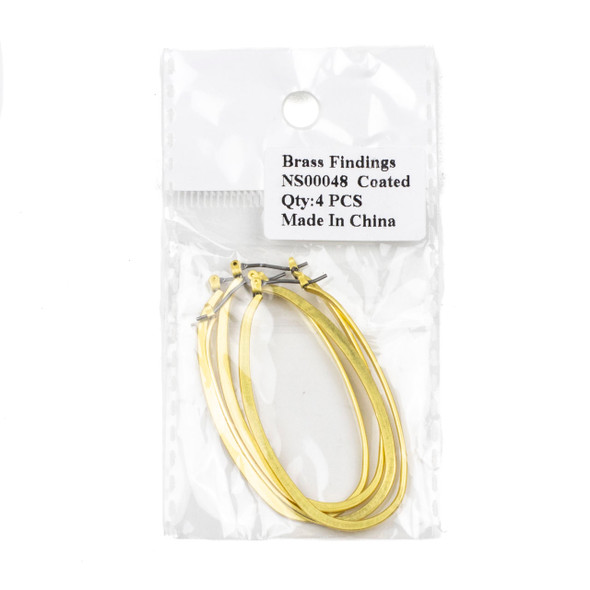 Coated Brass 30x54mm Oval Shaped Leverback Hoop Earrings with Stainless Steel Posts - 2 pairs/4 pcs per bag - NS00048c