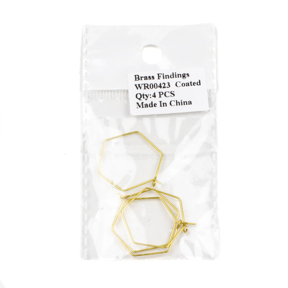 Coated Brass 25x30mm Hexagonal Hoop Ear Wires - 2 pairs/4 pcs per bag - WR00423c