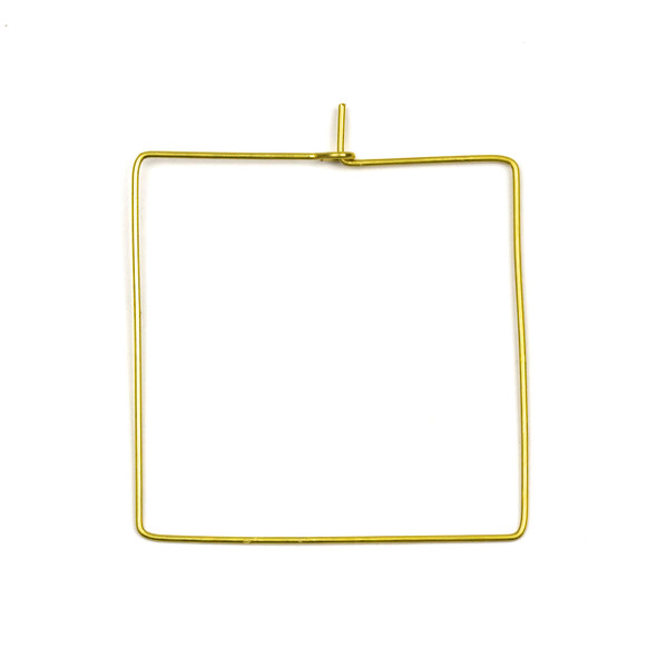 Coated Brass 40x45mm Square Shaped Hoop Ear Wires - 4 pcs per bag - WR00438c