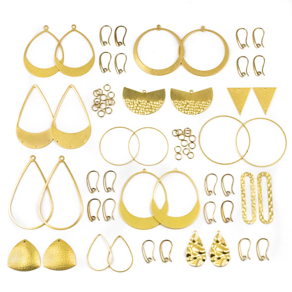 Coated Brass Large Component Earring Kit #2 - 78 total pieces
