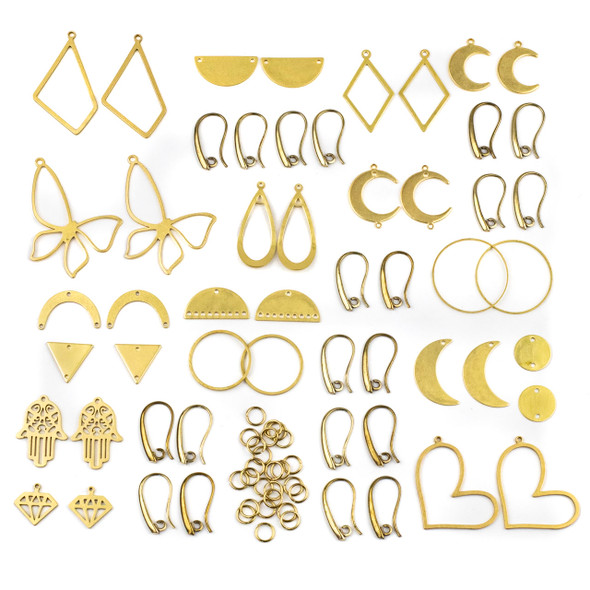 Coated Brass Small Component Earring Kit #3 - 78 total pieces