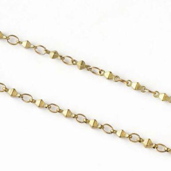 Coated Brass Chain with 2.5x3.5mm Small Oval Links alternating with 2x6mm Octahedron Links - JX-1045c - 2 meter spool