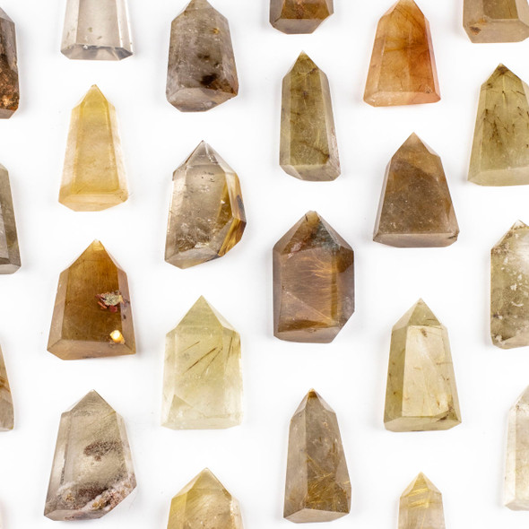 """Rutilated Quartz Crystal Point Tower - approx. 1-1.25"""" x 2-2.25"""", 1 piece"""