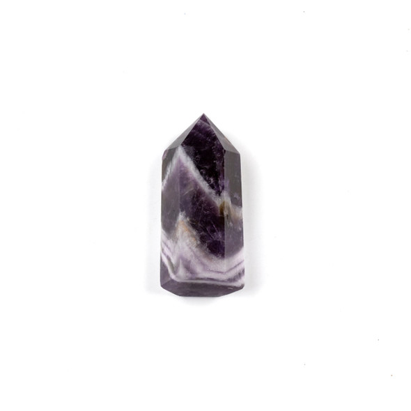"Chevron Amethyst Crystal Point Tower - approx. .5-.75"" x 1.5-1.75"", 1 piece"