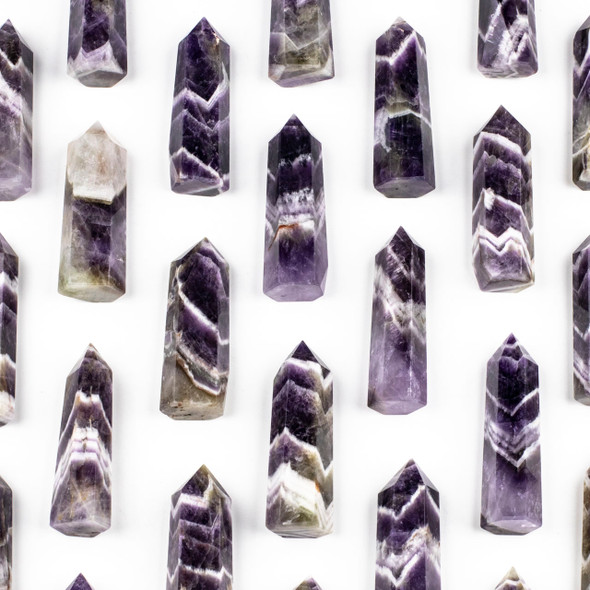 "Chevron Amethyst Crystal Point Tower - approx. .75-1"" x 2.25-2.5"", 1 piece"