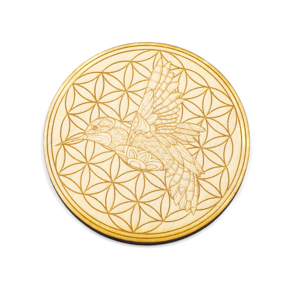 Hummingbird Flower of Life Crystal Grid - 4 inch, Birch Wood