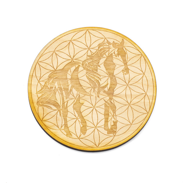 Horse Flower of Life Crystal Grid - 4 inch, Birch Wood