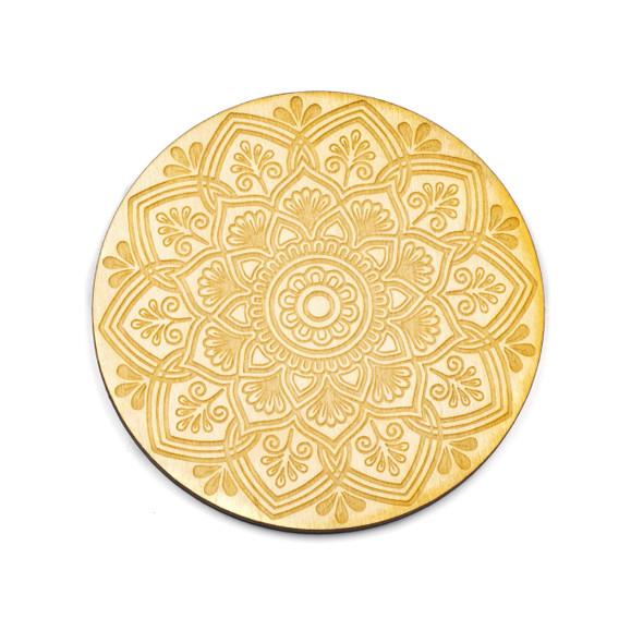 Mandala Crystal Grid #21 - 4 inch, Birch Wood