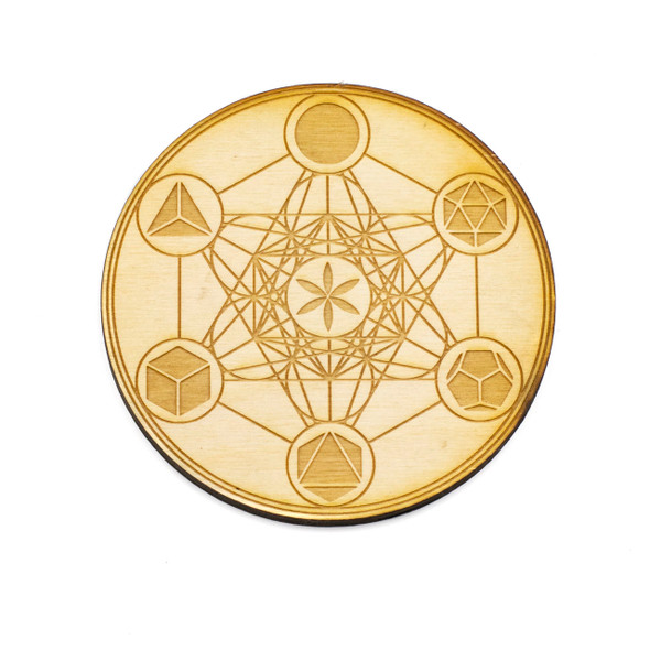 Metatron's Cube Crystal Grid - 4 inch, Birch Wood