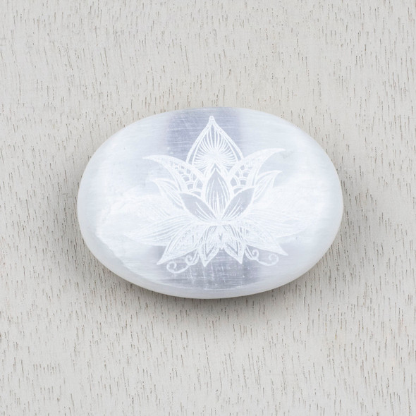 Selenite 2.5 inch Lotus Flower Engraved Palm Stone
