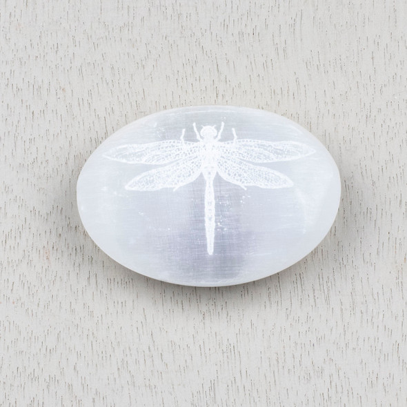Selenite 2.5 inch Dragonfly Engraved Palm Stone