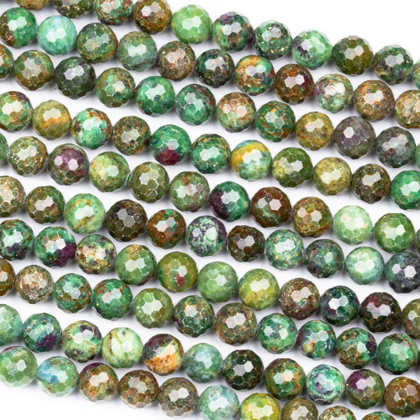 Ruby Zoisite 8mm Faceted Round Beads - 15.5 inch strand