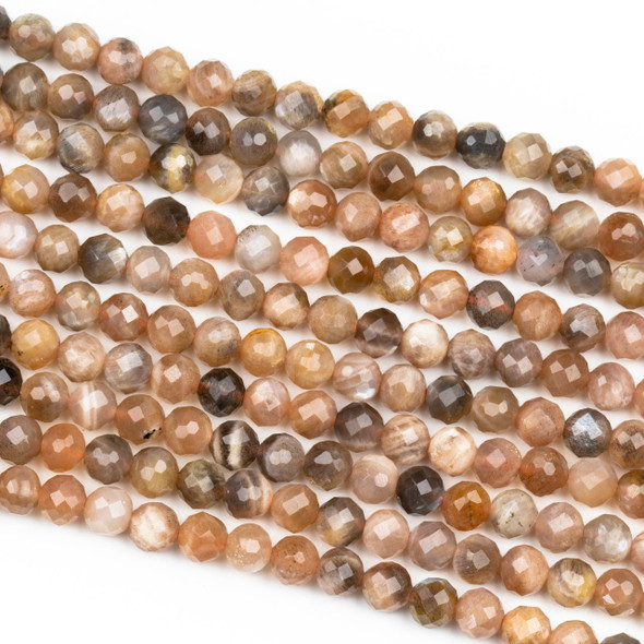 Mystic Grey & Peach Moonstone 6mm Faceted Round Beads - 16 inch strand