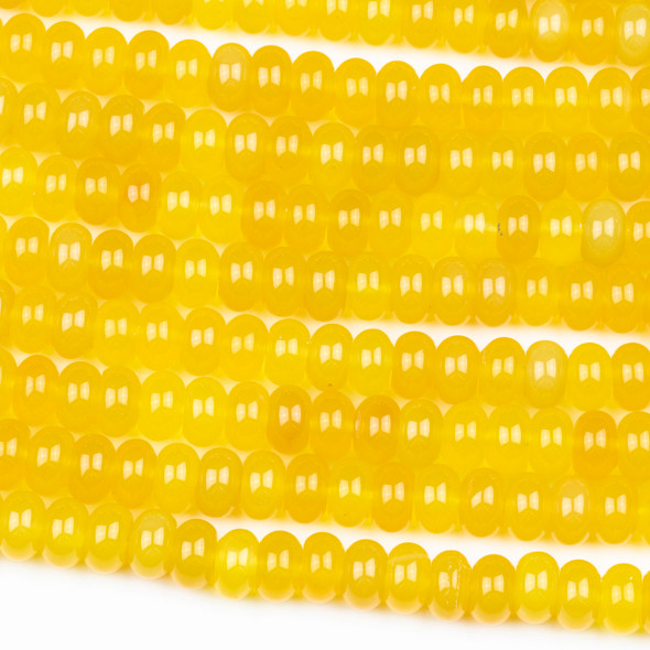 Yellow Agate 5x8mm Rondelle Beads - 16 inch strand