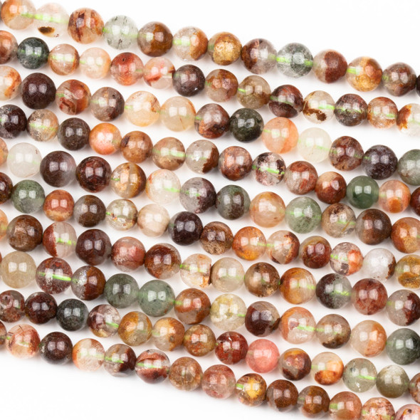 Rainbow Phantom Quartz 6mm Round Beads - 15 inch strand
