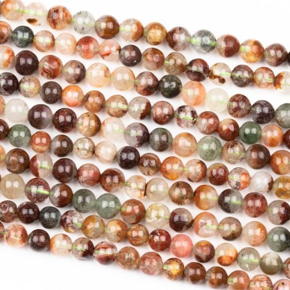 Rainbow Phantom Quartz 6mm Round Beads - 15 inch strand
