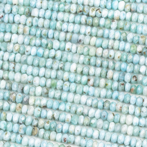 Larimar 3x5mm Faceted Rondelle Beads - 15 inch strand