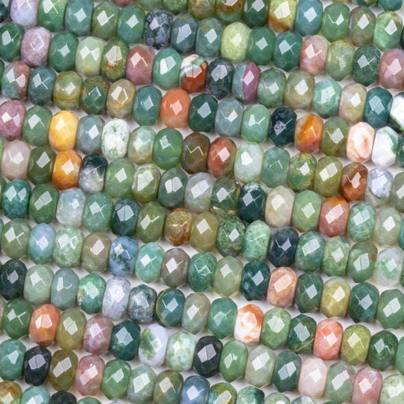 Fancy Jasper 5x8mm Faceted Rondelle Beads - 15 inch strand
