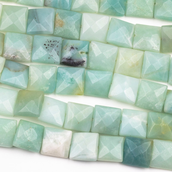 Amazonite 12mm Faceted Square Beads - 15 inch strand
