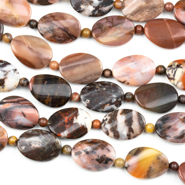 Pink Outback Jasper 13x17mm Twisted Oval Beads alternating with 4mm Rounds - 16 inch strand